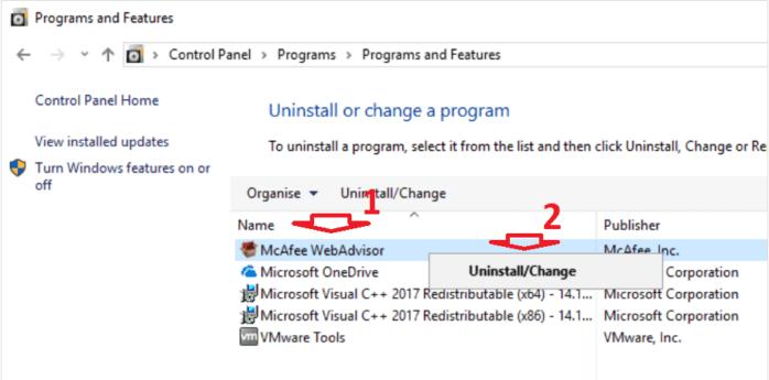 gỡ bỏ ứng dụng McAfee Web Advisor