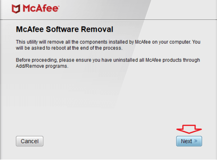 nhấn vào nút Next để chạy phần mềm gỡ cài đặt
