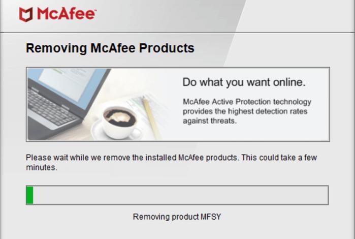 tìm bất kỳ sản phẩm nào của McAfee và tự động gỡ cài đặt chúng