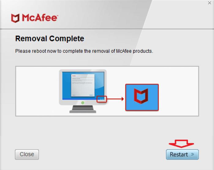 khởi động lại Windows 10 để loại bỏ mọi tệp McAfee còn sót lại