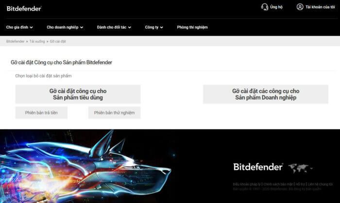 Gỡ cài đặt Bitdefender