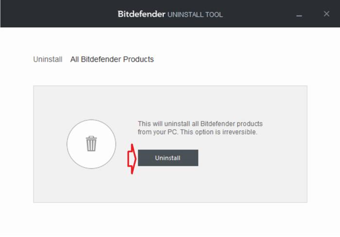 mở công cụ gỡ cài đặt Bitdefender