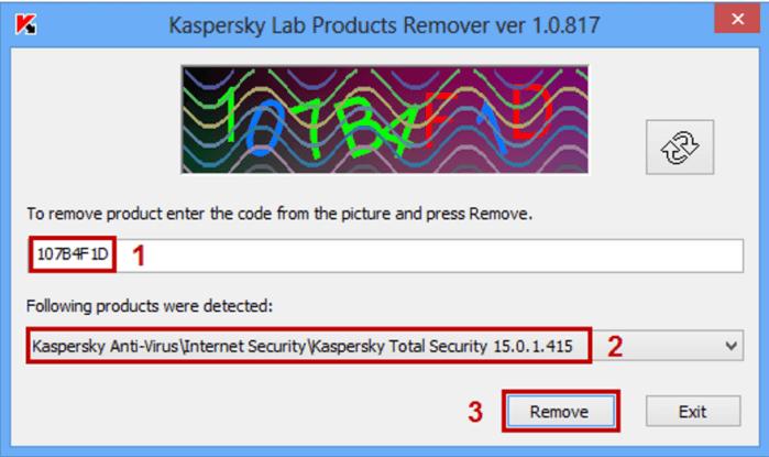 chọn sản phẩm Kaspersky từ menu thả xuống, cuối cùng nhấn vào nút Remove.