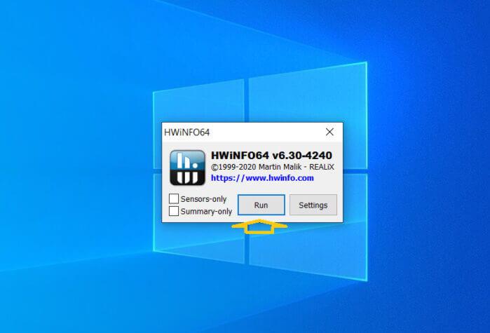 Trong cửa sổ đầu tiên của ứng dụng, bạn chọn Run.