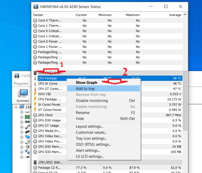 tìm tới mục có tên là CPU Package