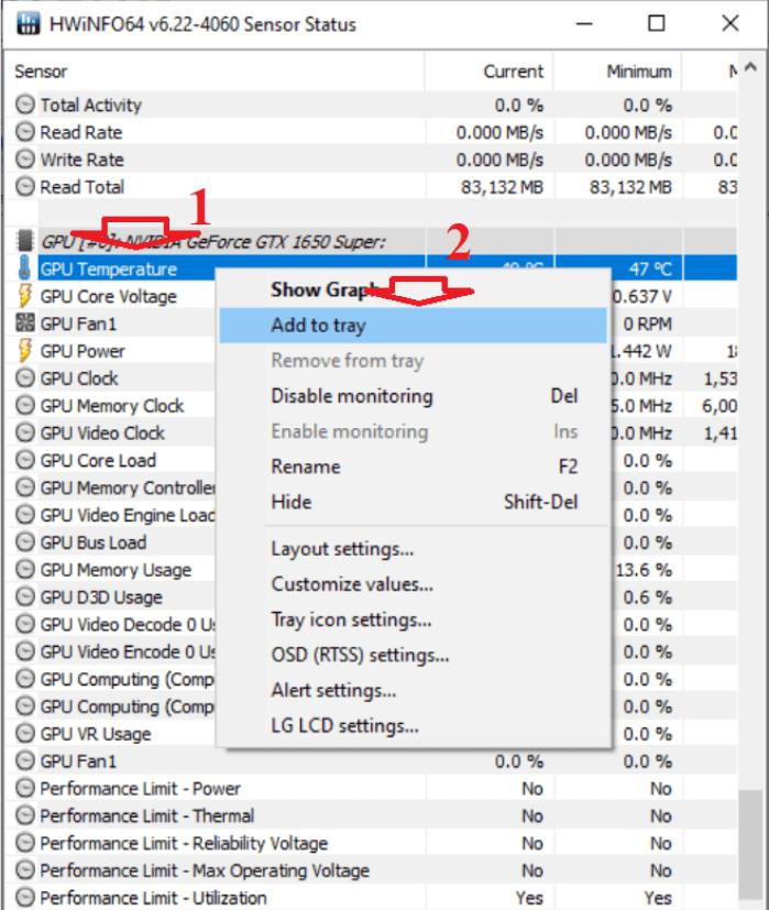 bạn tìm mục có tên GPU Temperature