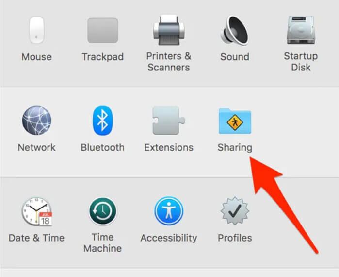 mở menu cài đặt chia sẻ cho máy Mac