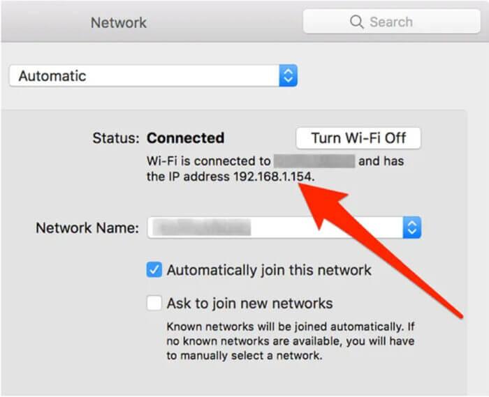 Tìm IP cục bộ của máy Mac