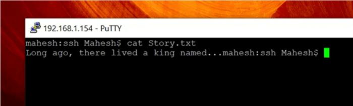 truy cập nội dung của tệp bằng lệnh SSH
