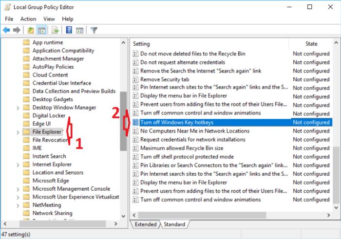 nhấp đúp vào tùy chọn Turn off Windows Key hotkeys