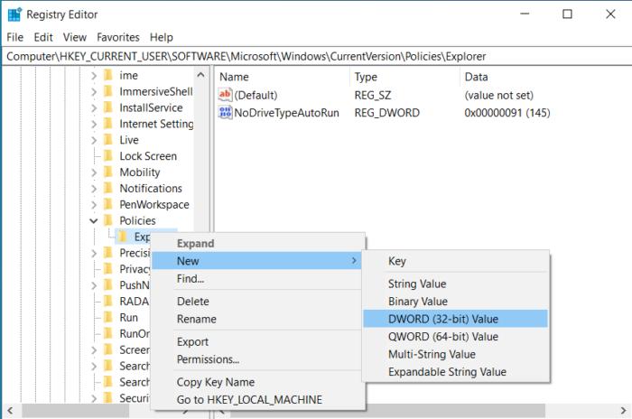 Tạo dword mới trong Win 10 để tắt phím Windows