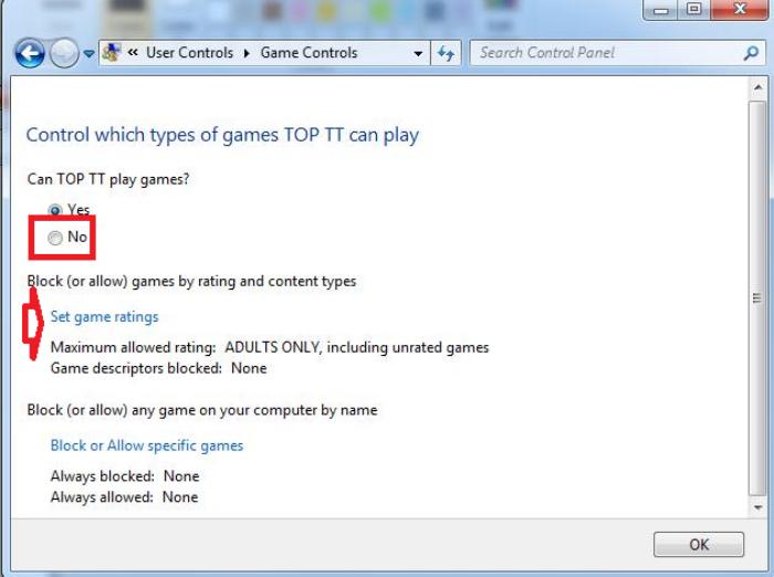 chặn hoặc cho phép trò chơi nào đó
