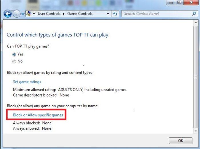cho phép hoặc chặn bất kỳ ứng dụng trò chơi nào trên máy tính.