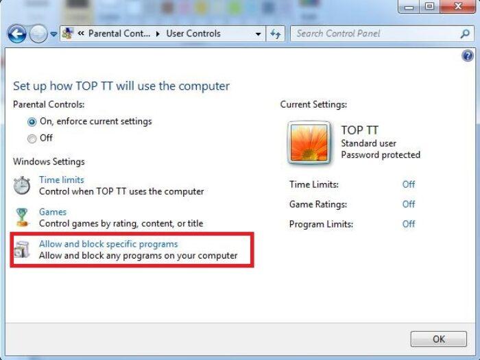 Cho phép và chặn các chương trình cụ thể trên máy tính