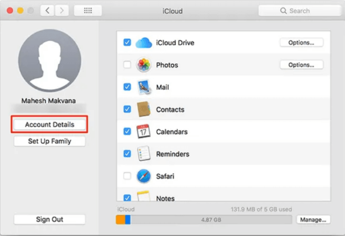 See your iCloud account preferences