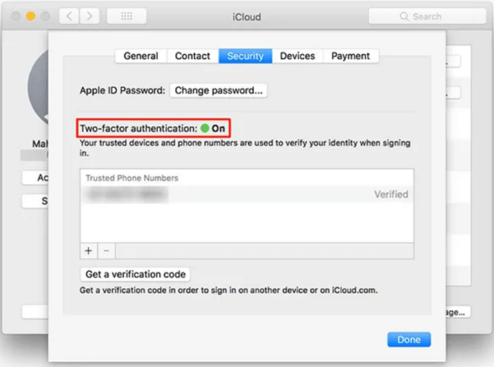 Turn on the two-factor authentication option