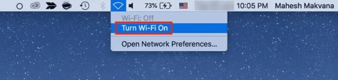 Turn on WiFi on Mac