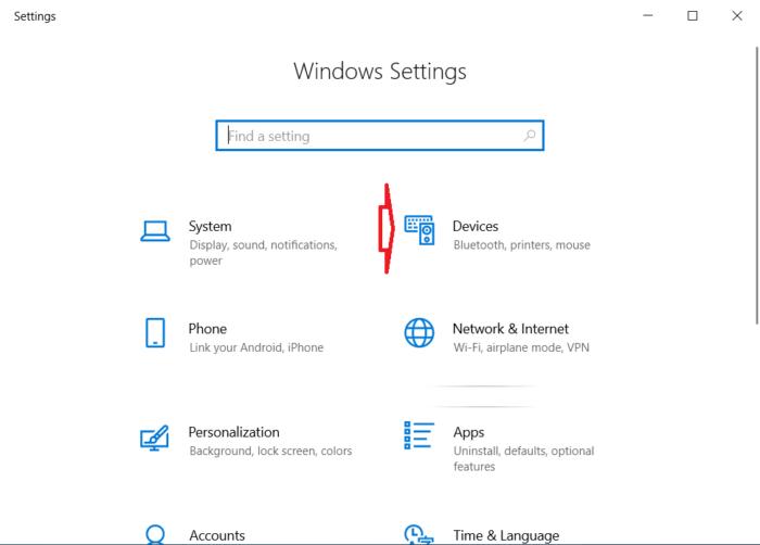 chọn Devices trong cửa sổ Cài đặt