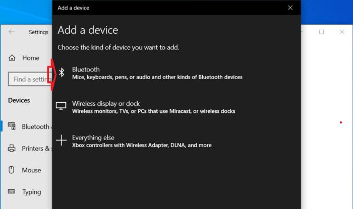 chọn Bluetooth trên menu tùy chọn