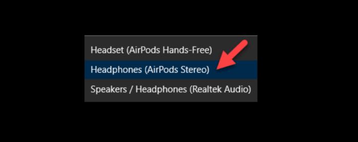 Chọn AirPods trong danh sách thiết bị
