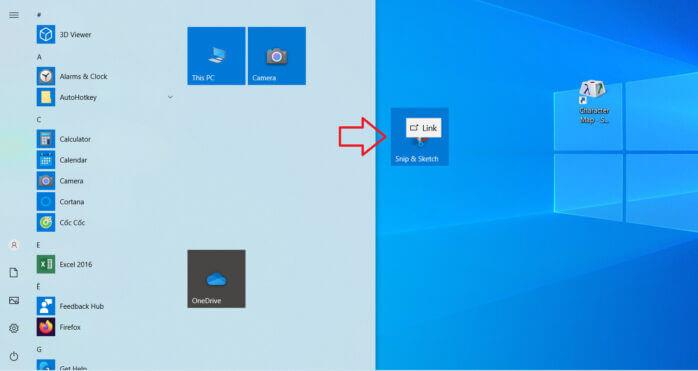 kéo thả ứng dụng ra màn hình desktop