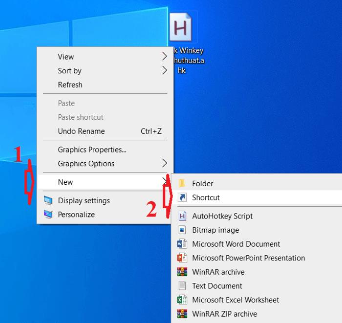 Các bước tạo Shortcut chuyển đổi User