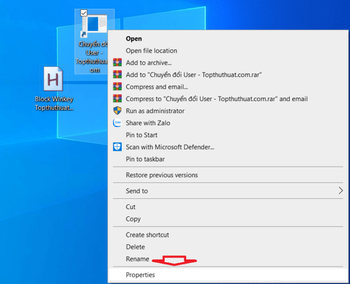 Thêm biểu tượng cho shortcut chuyển đổi User