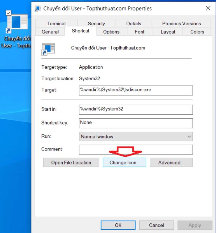 chuyển sang tab Shortcut và nhấn vào nút Change icon.