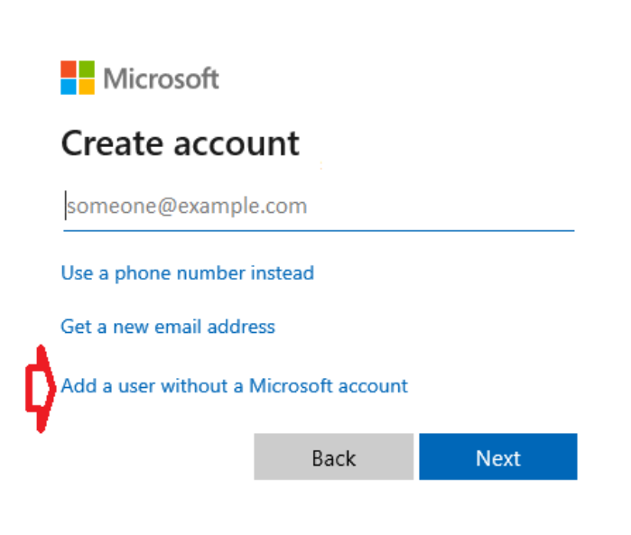 Nhấp vào liên kết Add a user without Microsoft account.