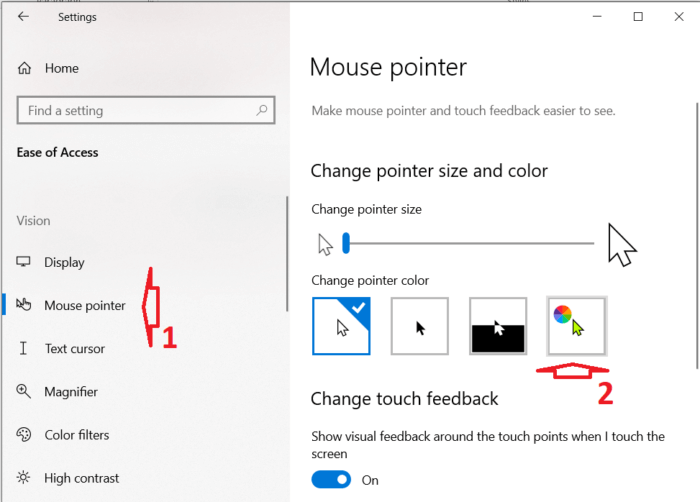 thay đổi màu con trỏ trong Windows 10