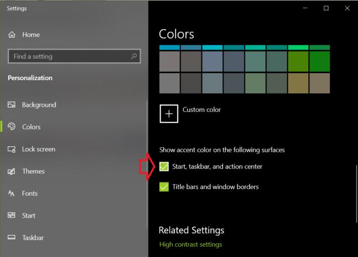 Áp dụng màu cho menu Start, thanh tác vụ và action center