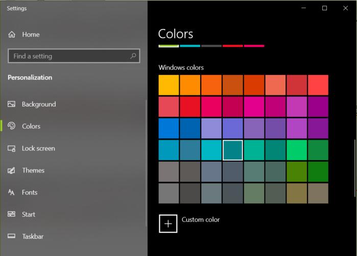 lựa chọn màu sắc cho thanh taskbar