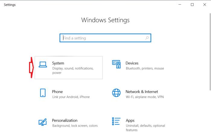 Chọn tùy chọn System trên màn hình tiếp theo.