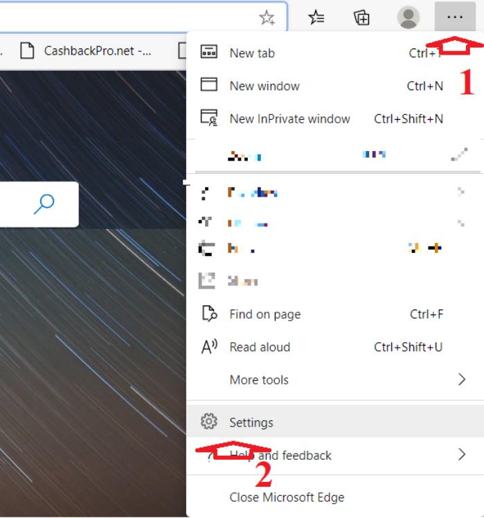 chọn tùy chọn Settings của trình duyệt Microsoft Edge