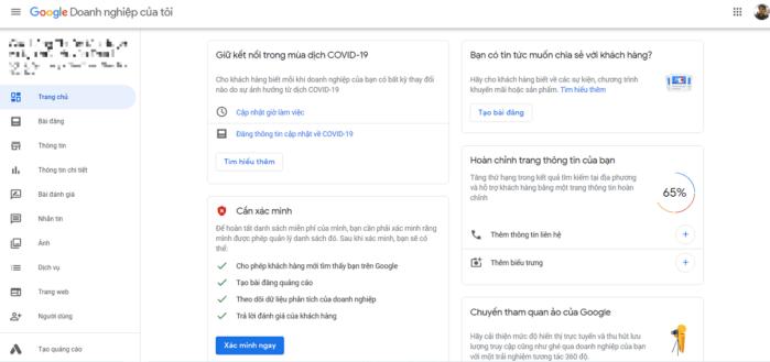Google xác minh doanh nghiệp của bạn