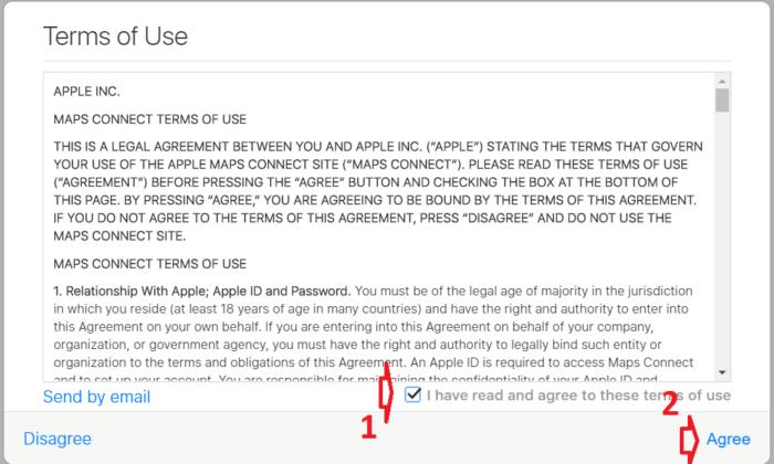 Đồng ý với các điều khoản sử dụng của Apple đối với ứng dụng Apple Maps