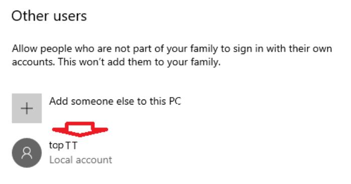 tìm tài khoản người dùng bạn muốn xóa trong phần Other users
