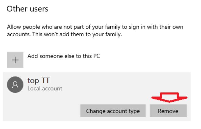 nhấp vào nút Remove dưới tên tài khoản người dùng