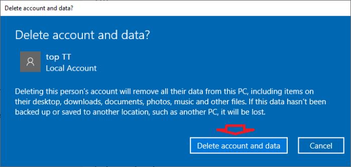 Nhấp vào nút Delete account and data để xóa tài khoản và dữ liệu người dùng