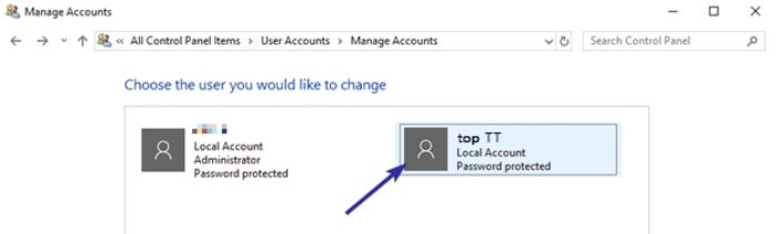 chọn tài khoản người dùng bạn muốn xóa