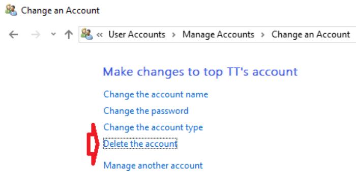 nhấp vào liên kết Delete the account.