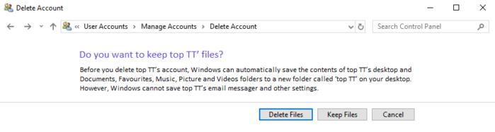 để giữ các tệp thì bạn hãy nhấp vào nút Keep Files