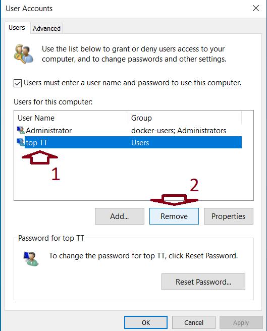 chọn tài khoản người dùng từ danh sách và nhấp vào nút Remove