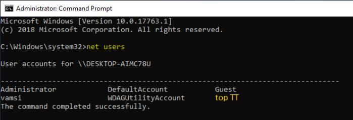 lệnh để hiển thị danh sách tất cả các tài khoản user trong hệ thống
