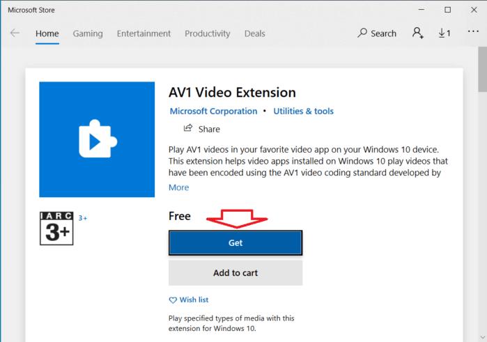 Install AV1 Codec in the Microsoft Store app