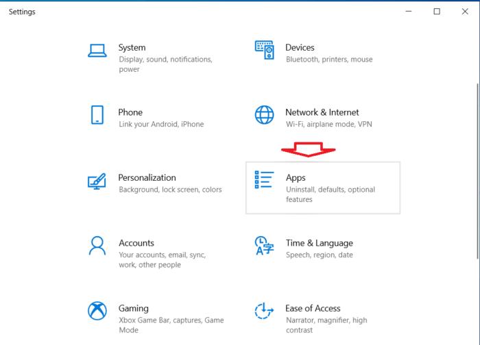 Open the Windows 10 Settings app