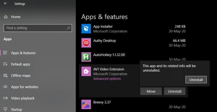 Remove AV1 Code from Windows 10