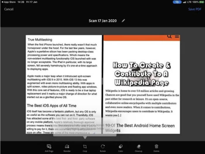 ứng dụng quét bằng máy ảnh và OCR chạy trên Android và iOS - Adobe Scan