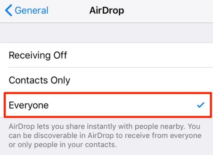 Allow anyone to find your iPhone in AirDrop