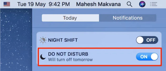Switch Do Not Disturb switch (Do Not Disturb)